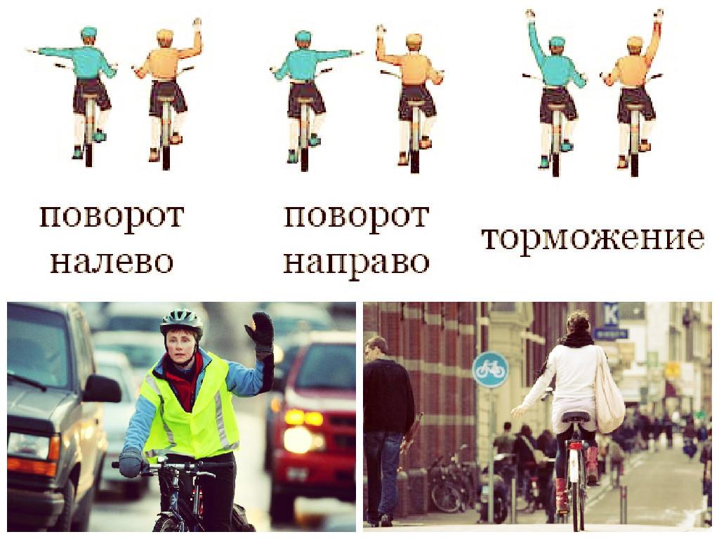 Условные сигналы, подаваемые велосипедистом