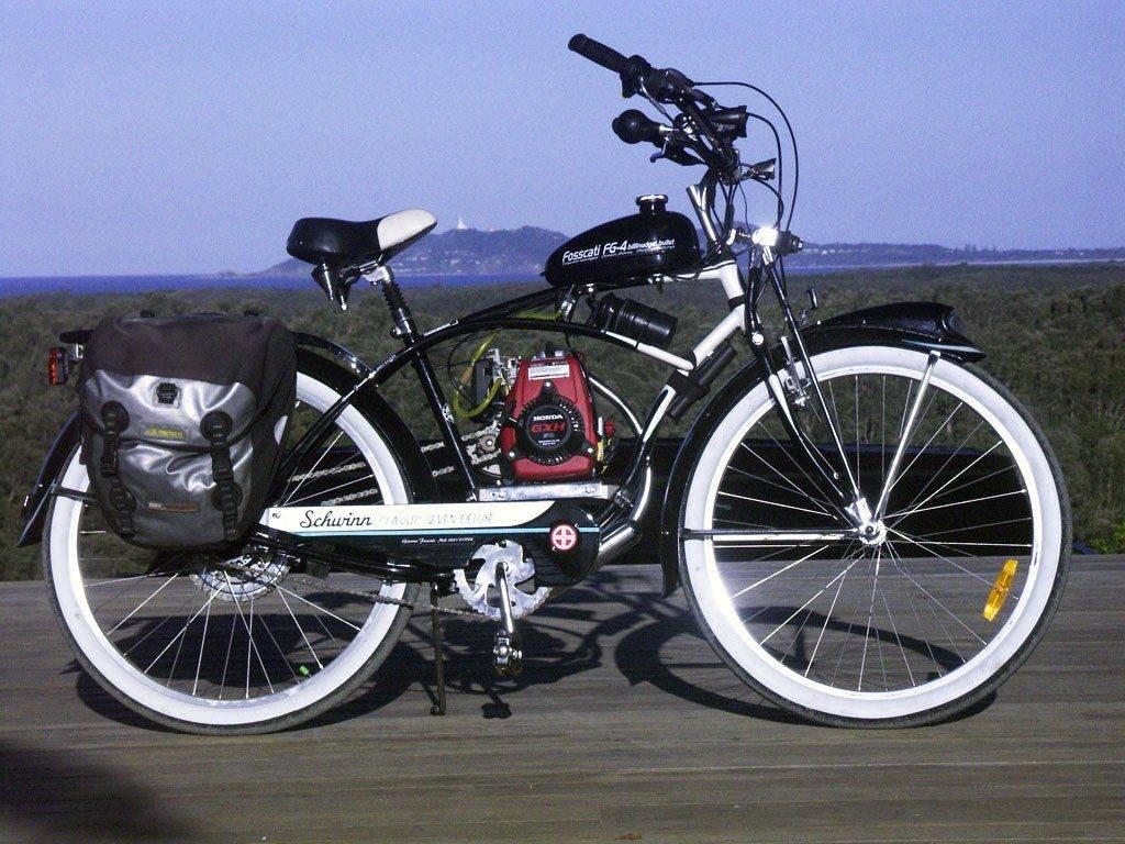Велосипед с бензиновым мотором (двигателем), бензомотором