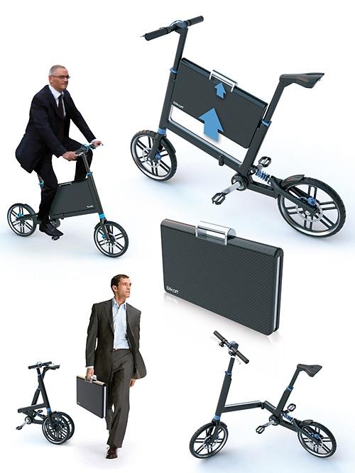 Интересное изобретение: велосипед, способный складываться до размеров чемодана на колесиках