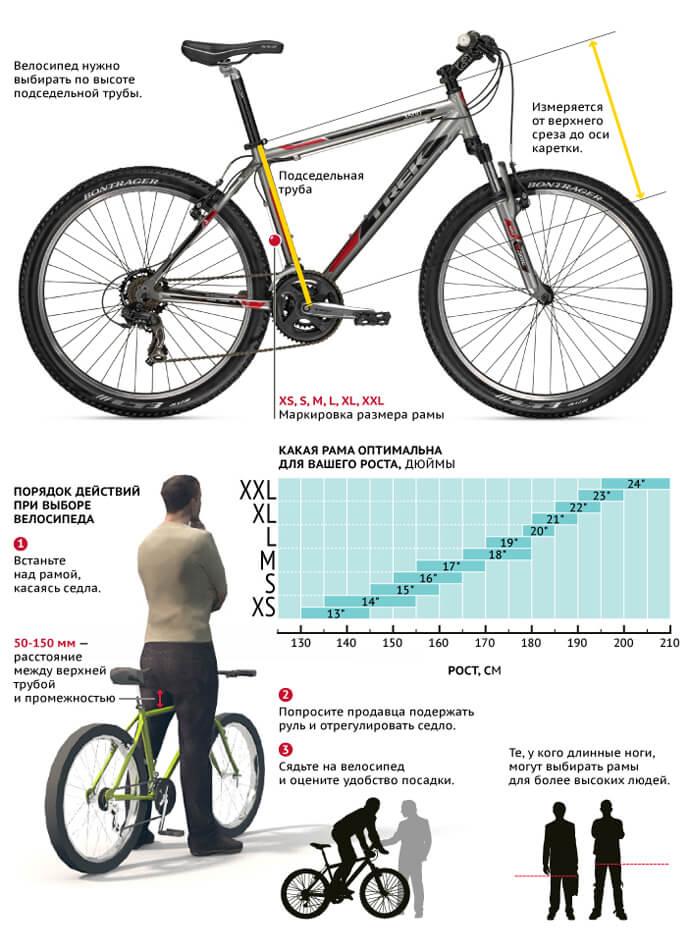 Таблица: размер велосипеда под рост