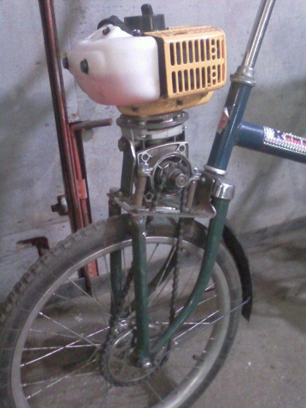 Изготовление велосипеда с мотором от триммера