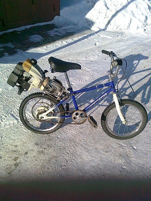 Двигатель от бензопилы на велосипед своими руками