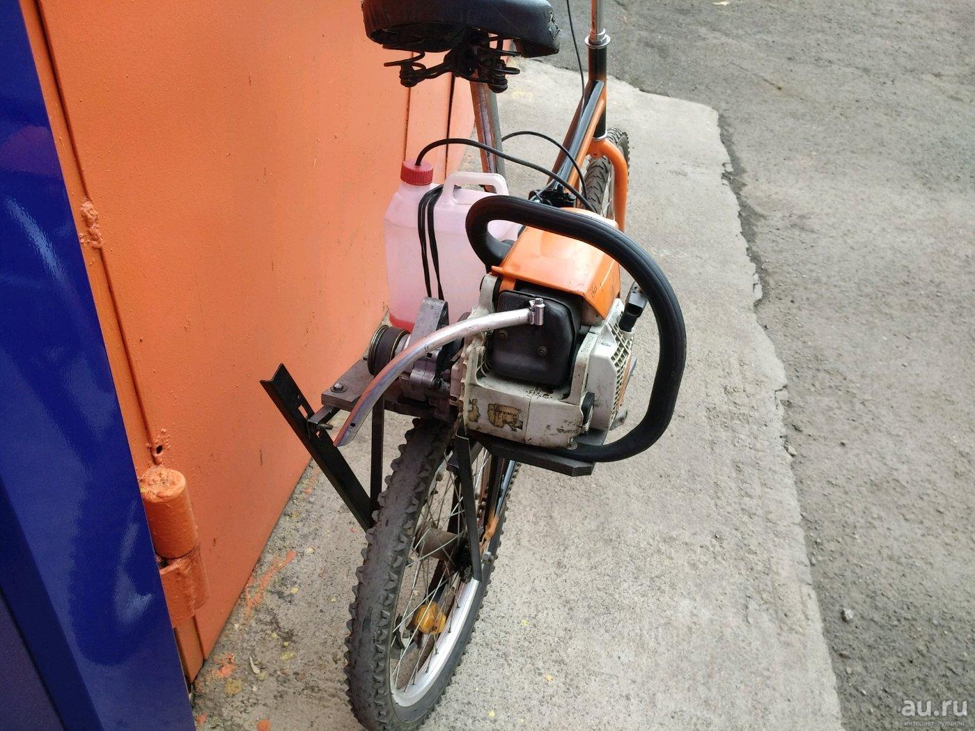 Как поставить двигатель от триммера на велосипед