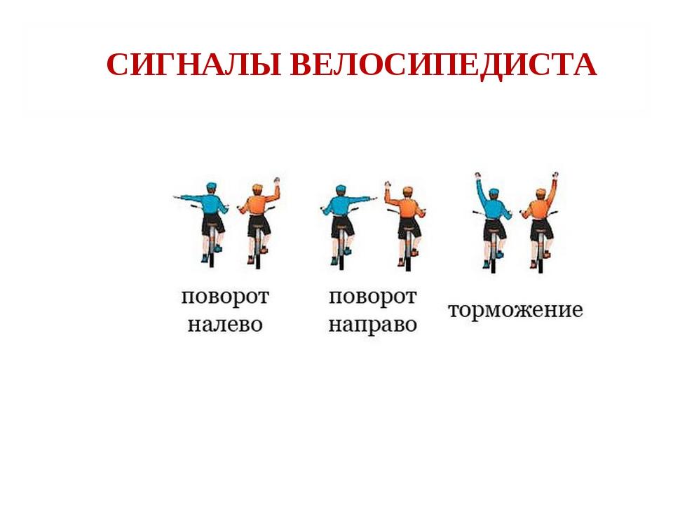 Свод правил для безопасной езды на велосипеде, основные сигналы рукой